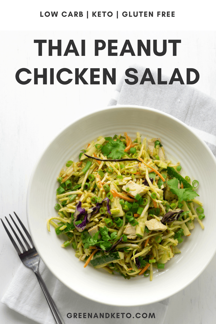 A bowl of low carb Thai Peanut Chicken Salad on a white background