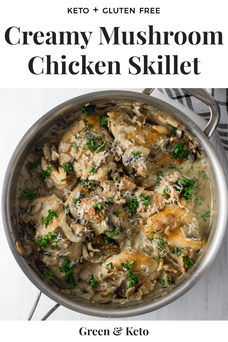 Easy Keto Dinner recipe! This Creamy Mushroom and Chicken Recipe can be made in one pan in under 30 minutes. The perfect weeknight keto chicken recipe that the whole family will love. #keto #ketorecipe