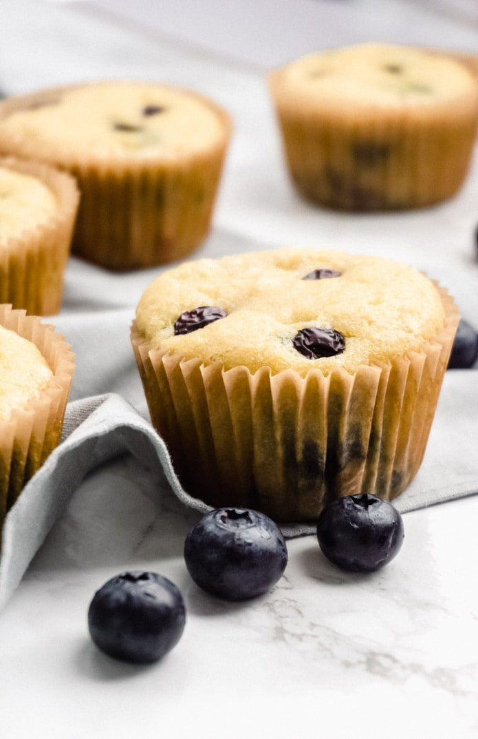 close shot of keto blueberry muffins