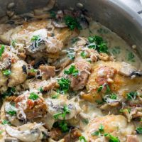 Creamy Mushroom Garlic Chicken with Parmesan and Bacon