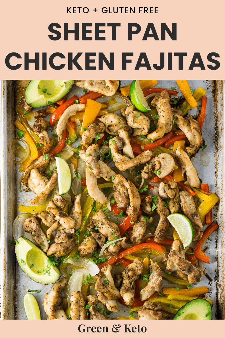 sheet pan filled with chicken and bell pepper fajitas