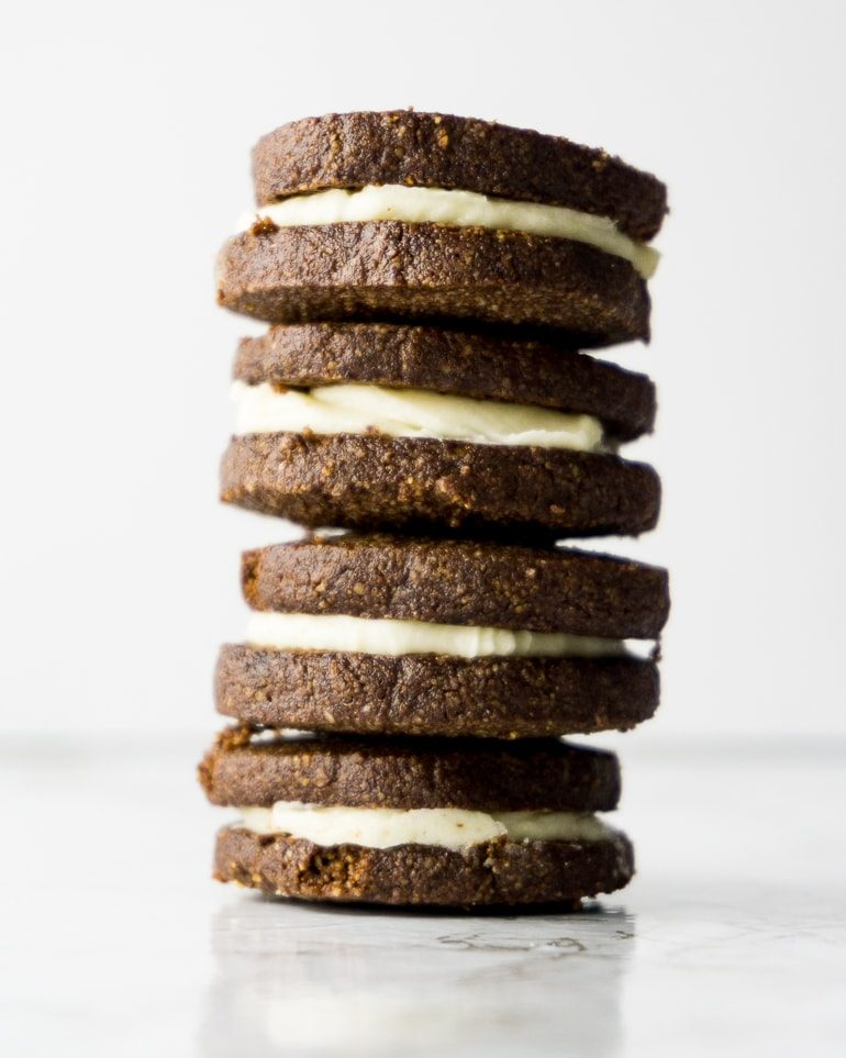 "stack of 4 chocolate ""oreo"" sandwich cookies made keto with almond flour"