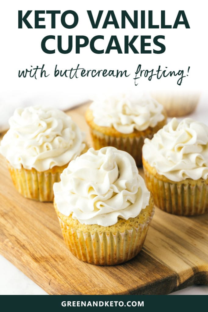 Vanilla Keto Cupcakes with Buttercream Frosting