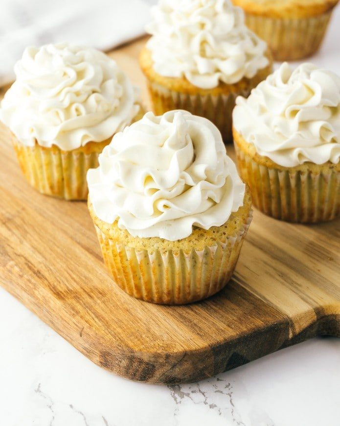 creamy vanilla icing on keto cupcakes