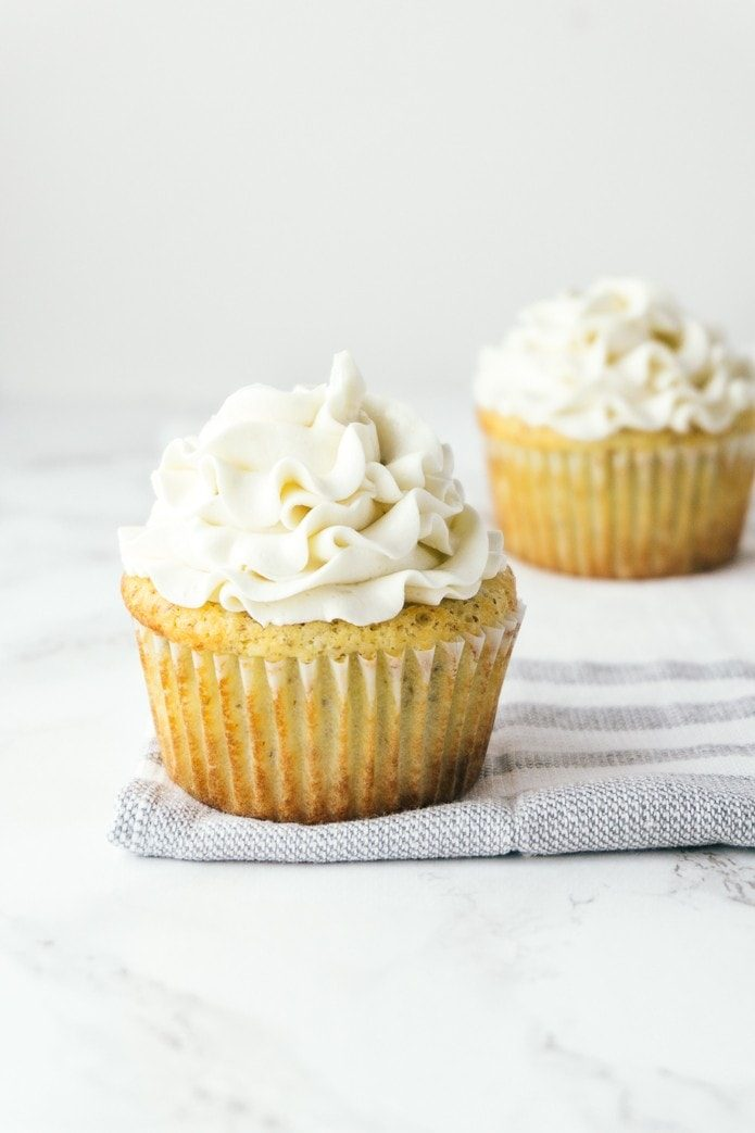keto vanilla cupcakes with frosting