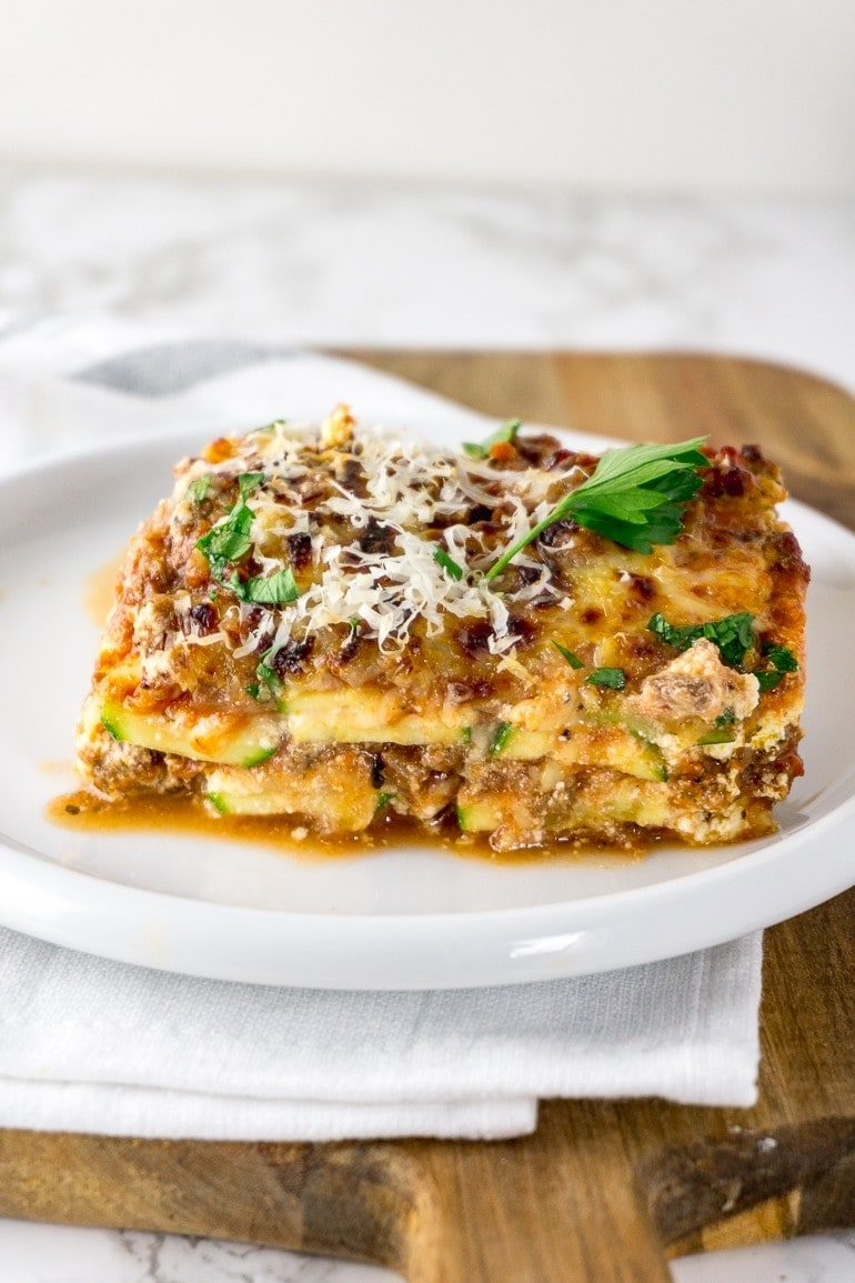 easy keto lasagna with zucchini noodles