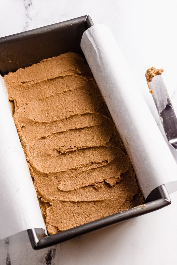 keto gingerbread cake batter in a loaf pan