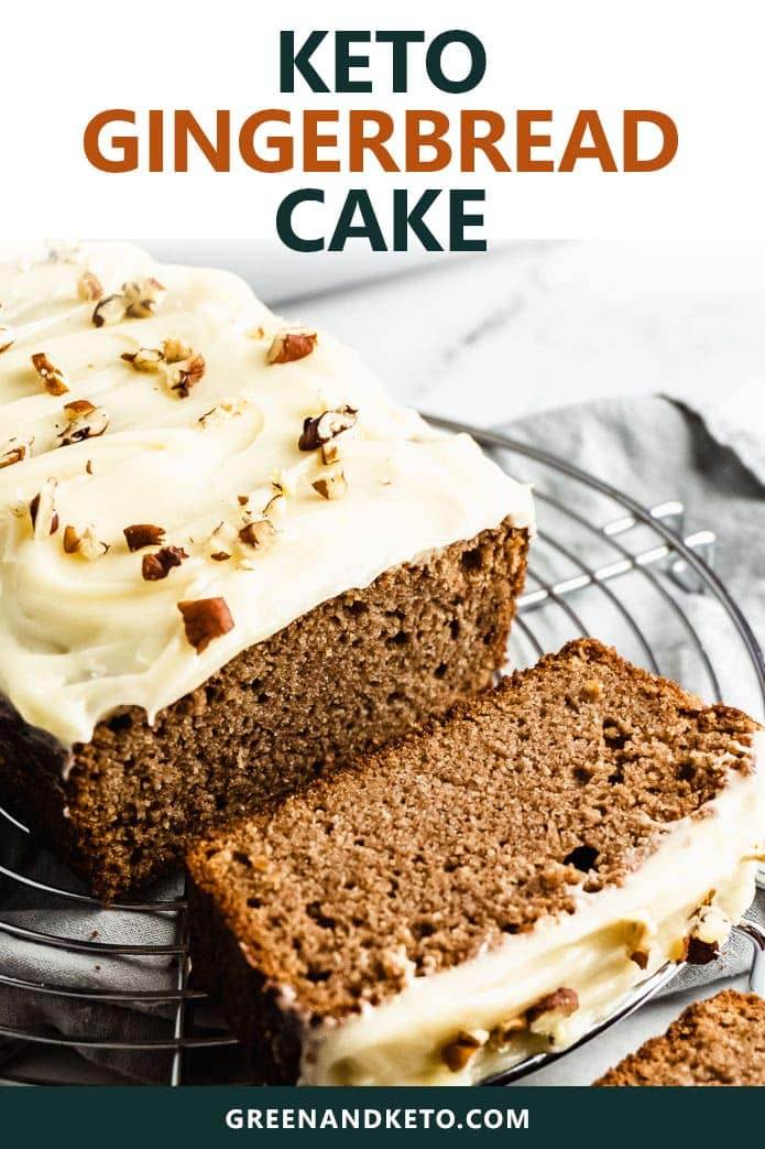 Keto gingerbread loaf cake recipe is the perfect, easy, low-carb holiday dessert recipe to serve at your next Thanksgiving or Christmas party. Gluten free, perfectly sweet, a bit spicy from the ginger, and incredibly moist. #greenandketo