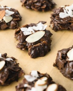 Keto No-Bake Cookies with Chocolate, Almonds, and Coconut