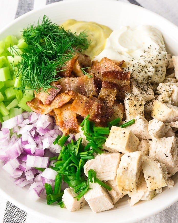 close up of ingredients for keto chicken salad with bacon