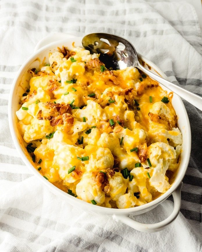 low carb cauliflower cheese baked casserole