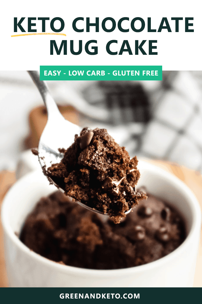 The best microwave Keto mug cake I've tried so far! Easy, healthy, 1-minute chocolate mug cake that's low-carb and completely delicious. #greenandketo #ketorecipe