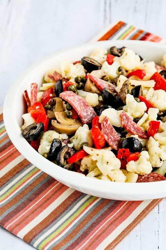 Low-Carb Marinated Cauliflower Antipasto Salad