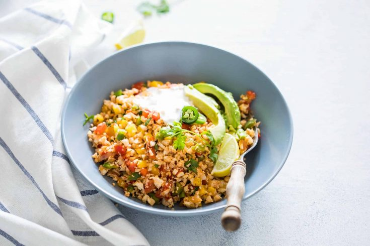 Low Carb Mexican Cauliflower Rice - healthy side dish!
