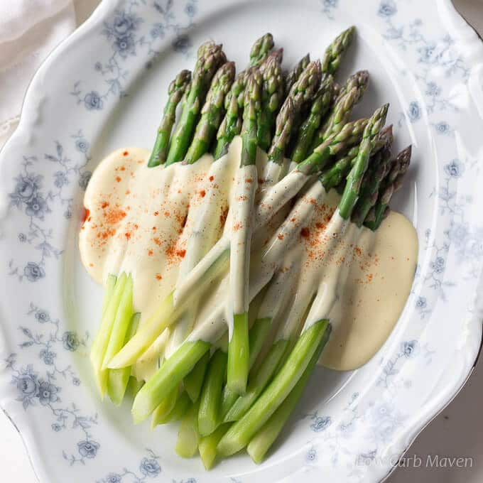 Asparagus with Hollandaise Sauce (brown butter)