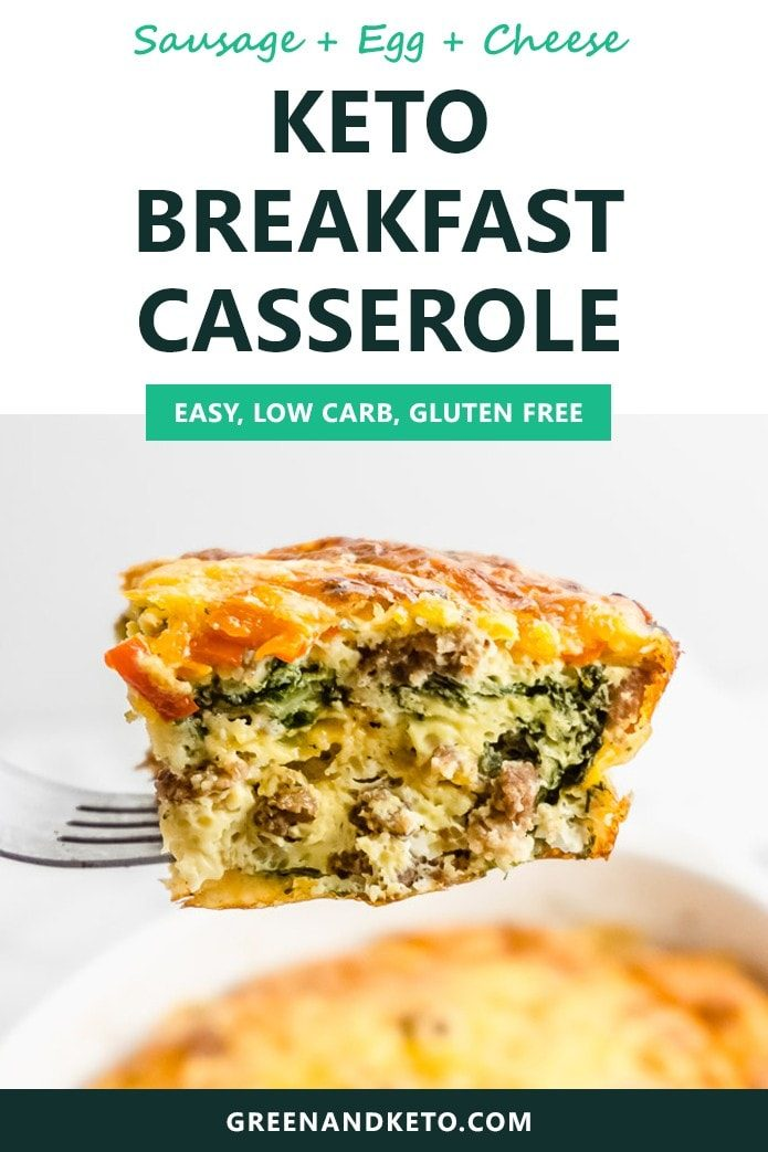 "This keto breakfast casserole is a delicious keto breakfast recipe that you can make ahead and eat ""on the go"".  If like to meal prep, you'll love this recipe!"