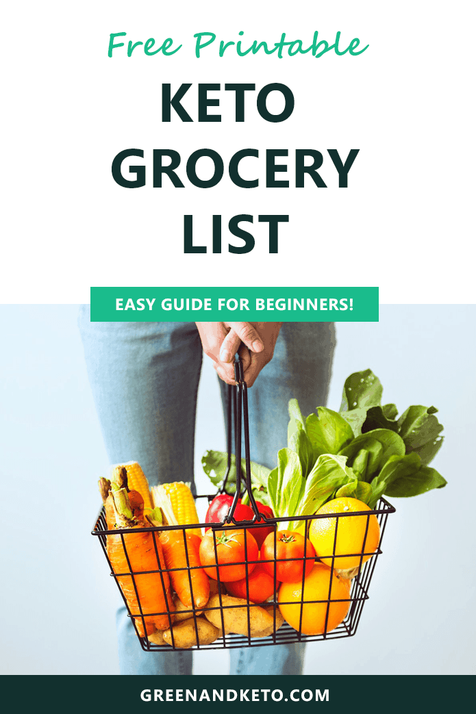 image regarding Free Printable Keto Food List identify Ketogenic Food plan Searching Checklist - Inexperienced and Keto