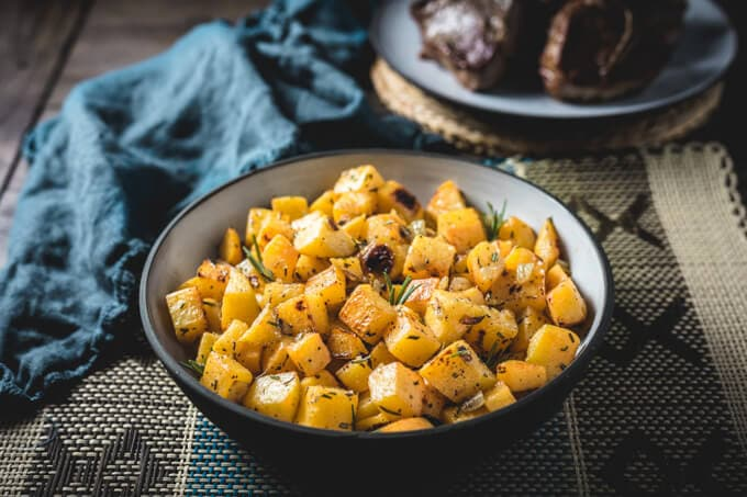 Roasted Rutabaga with Rosemary and Onions