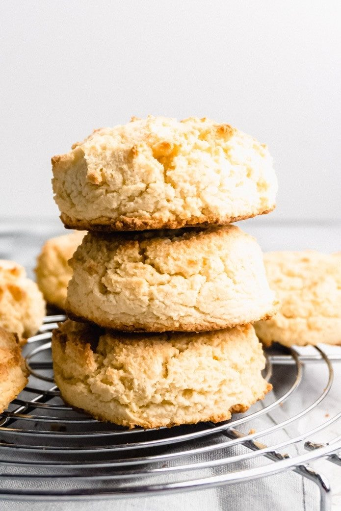 stack of fluffy keto biscuits