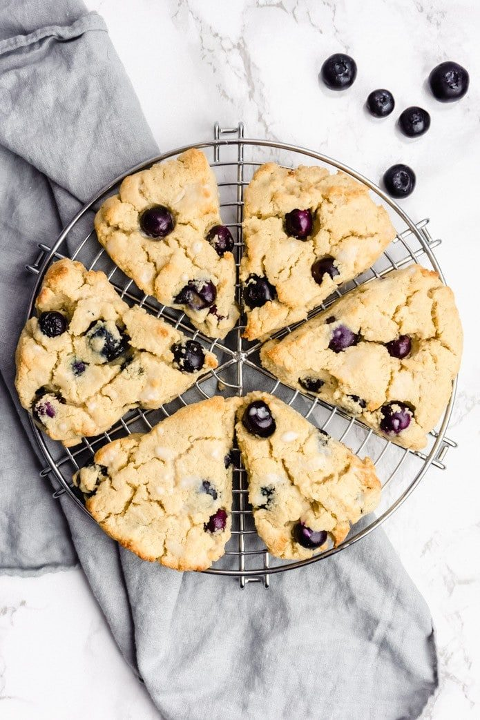 low-carb keto scones made with fresh blueberries