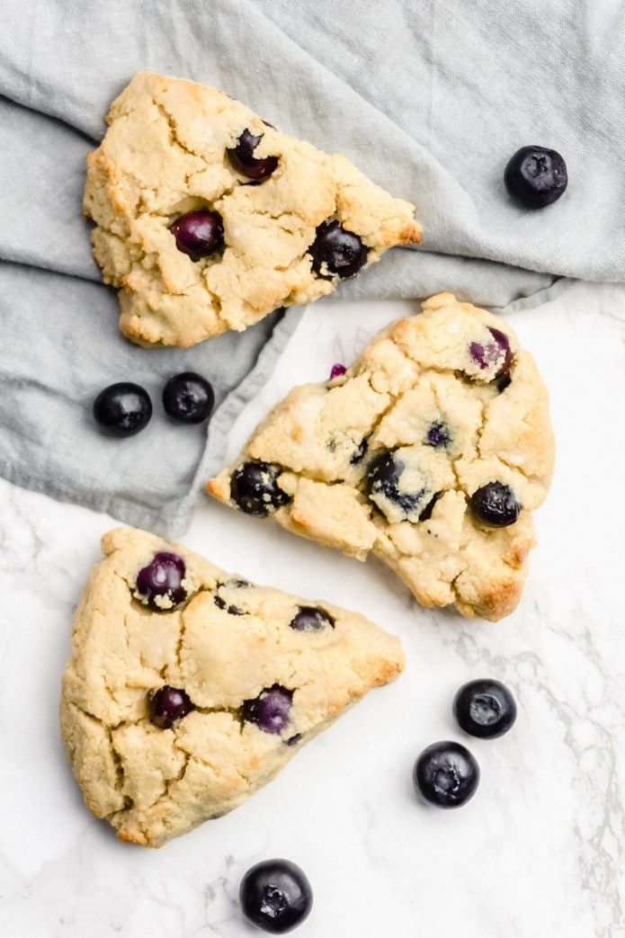 keto blueberry scones made with coconut flour and fresh blueberries