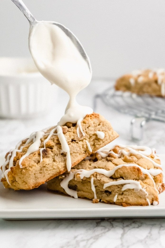 vanilla glaze on maple walnut scones