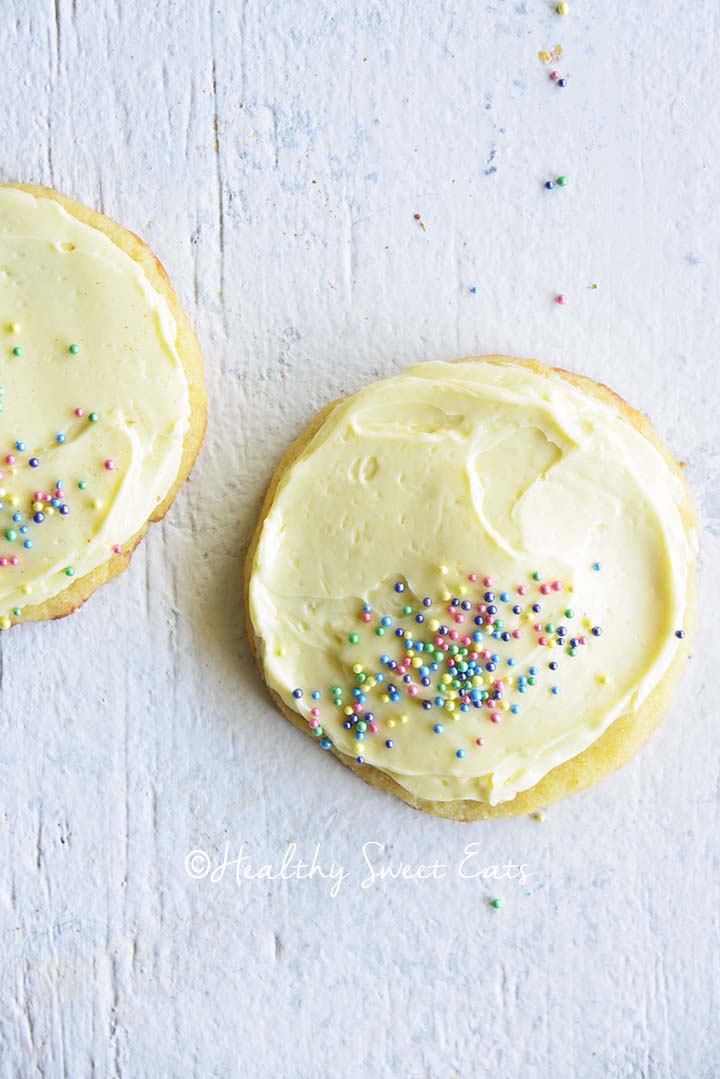 Soft Keto Sugar Cookies with Sugar Free Vanilla Frosting