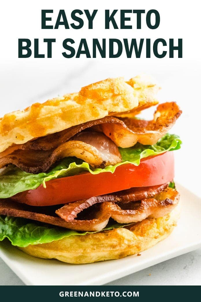 "Try this delicious Keto BLT sandwich made with Chaffle ""bread"".  With all of that crispy bacon, juicy tomato, and fresh lettuce, you won't miss the carbs at all!  Chaffle BLT sandwiches are the best new low-carb lunch idea!"