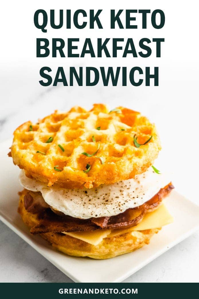 Try this recipe for a keto breakfast sandwich made with crispy bacon, egg, and cheesy chaffles! This recipe is low in carbs and high in flavor.  It's so quick and easy to make -- perfect for busy mornings.