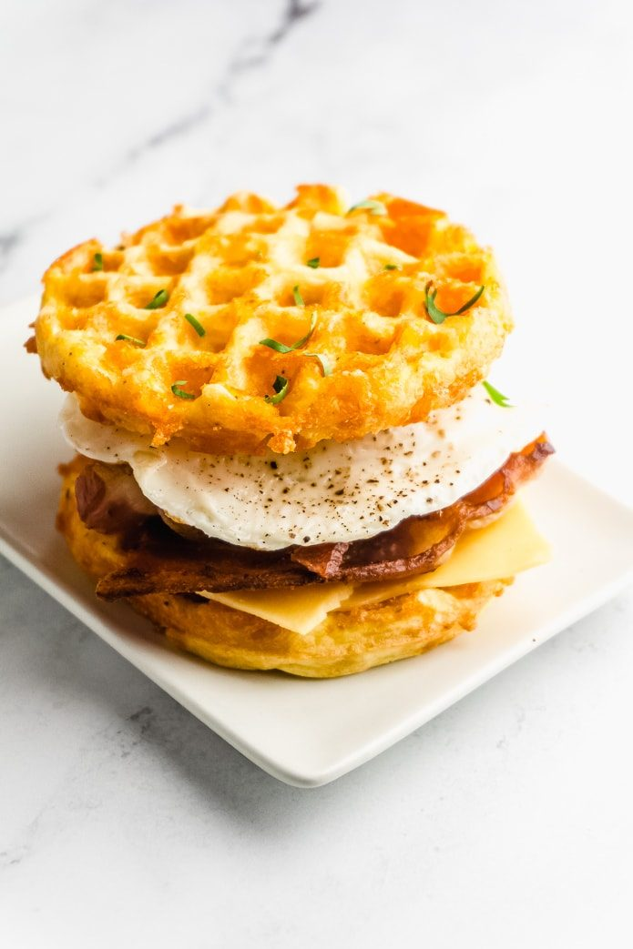 low-carb breakfast sandwich with cheddar keto chaffles