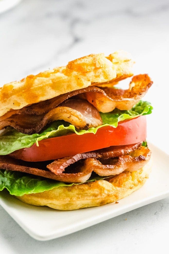 side view of keto blt sandwich made with low-carb chaffles