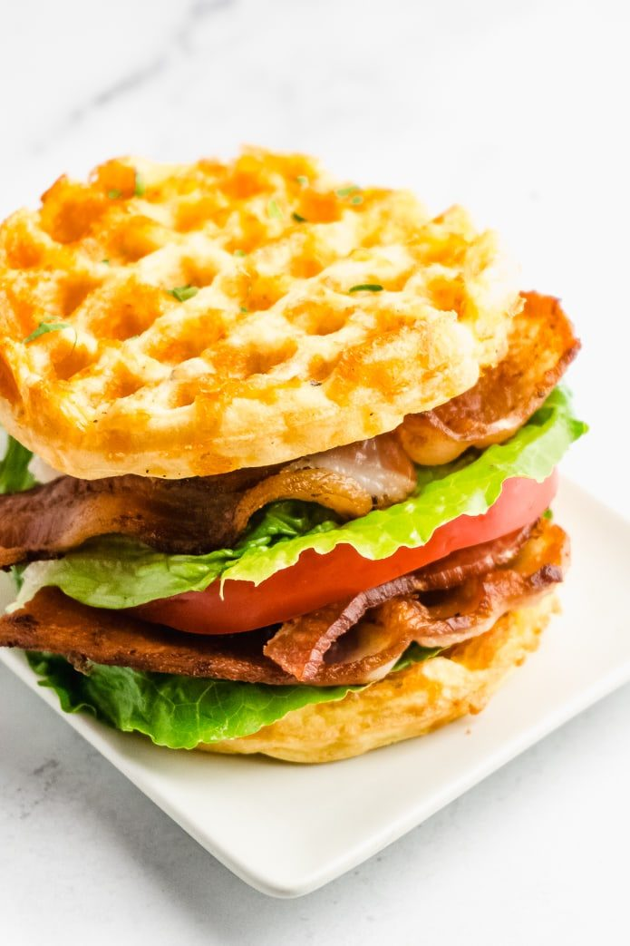 keto low-carb blt sandwich with chaffle bread