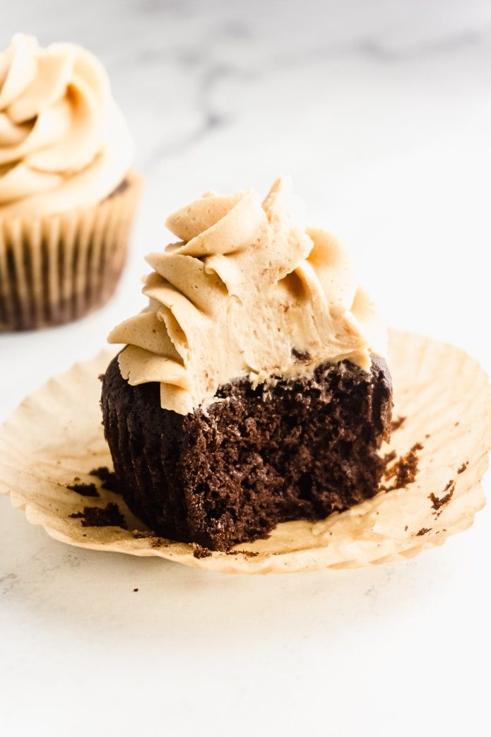 keto chocolate cupcake with peanut butter frosting