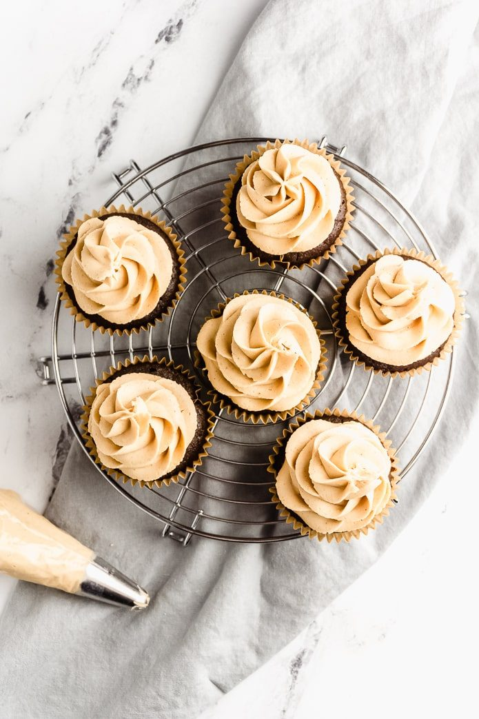 frosted chocolate low-carb cupcakes and peanut butter icing