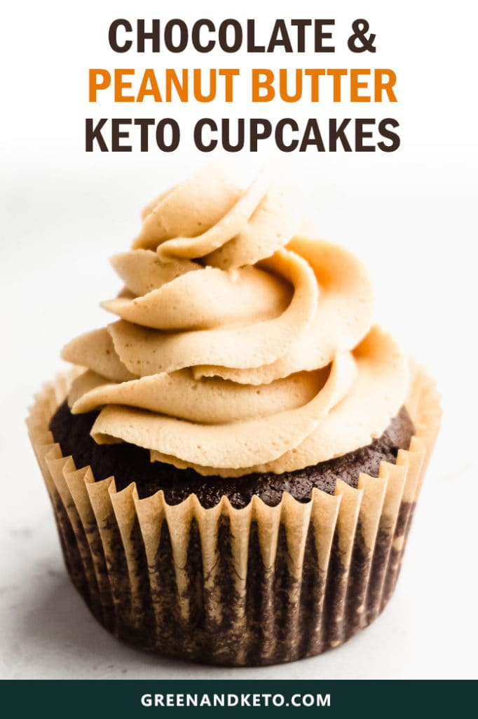 Keto Chocolate Cupcakes with Peanut Butter Frosting