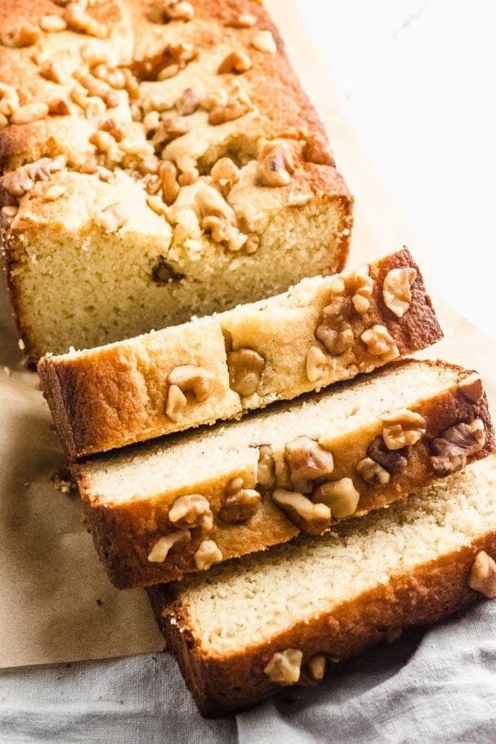 sliced keto banana bread with nuts