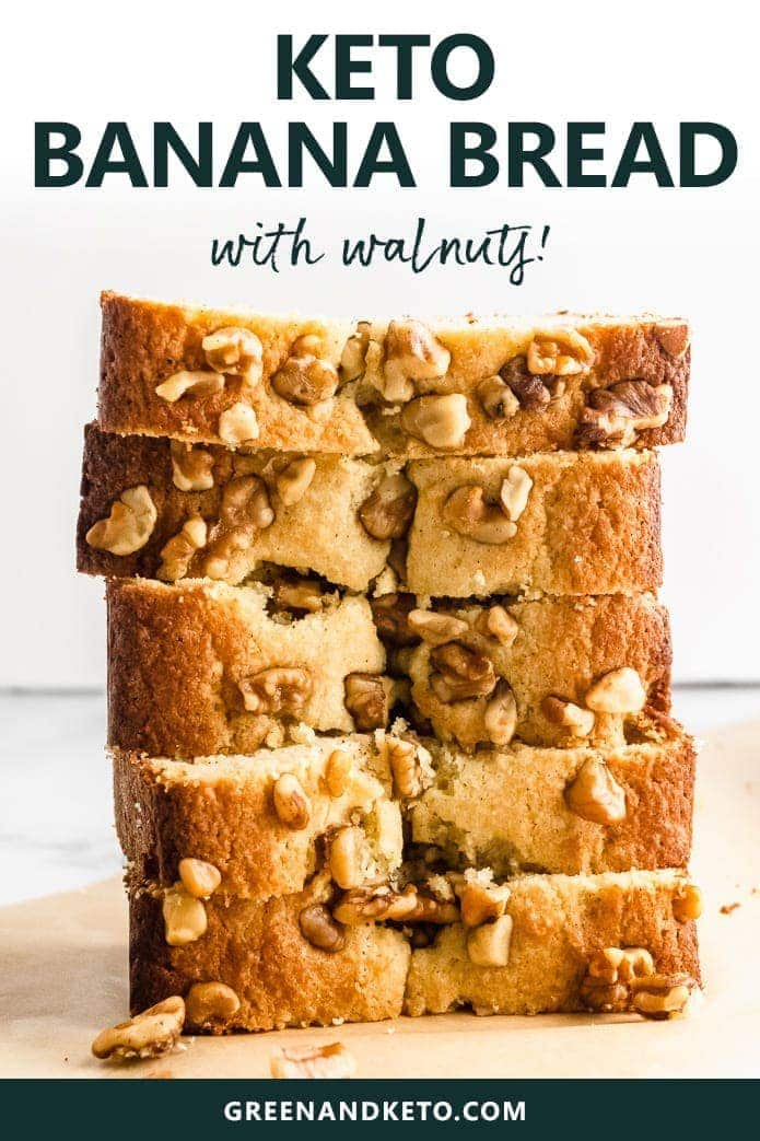 Try this keto banana bread that's moist, delicious, and full of banana nut flavor. Totally low-carb, it's made with gluten-free flours and sugar-free sweetener. Perfect keto breakfast or keto snack.