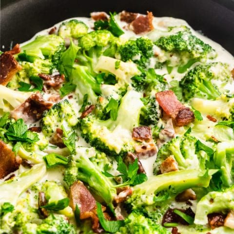 Creamy Garlic Keto Broccoli with Bacon