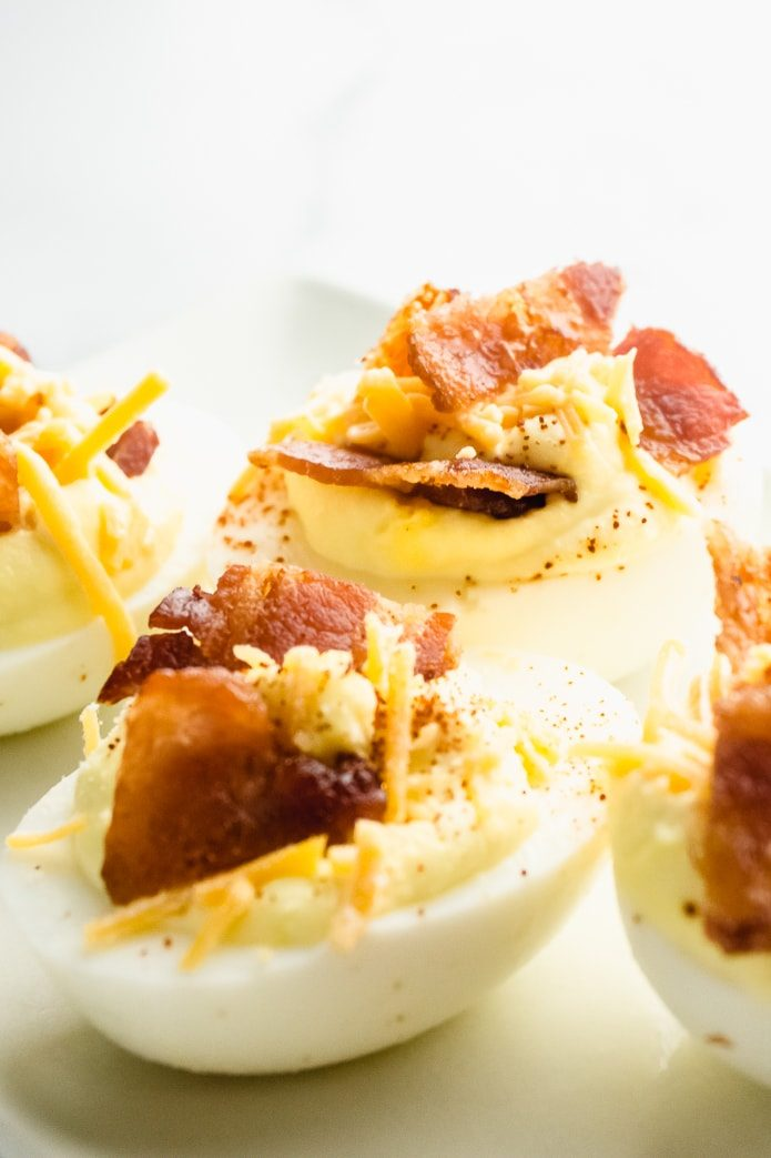 low-carb deviled eggs are a keto snack idea