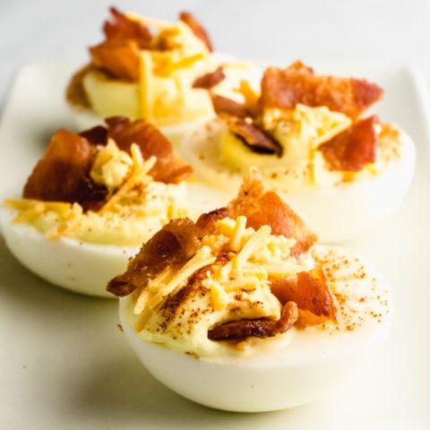 Loaded Keto Deviled Eggs with Cheddar and Bacon