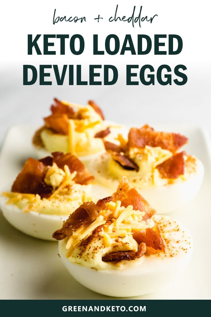 Loaded keto deviled eggs with bacon have a creamy and velvety sour cream filling, with savory cheddar cheese and crunchy bacon. They are the low carb appetizer to bring to a holiday party!
