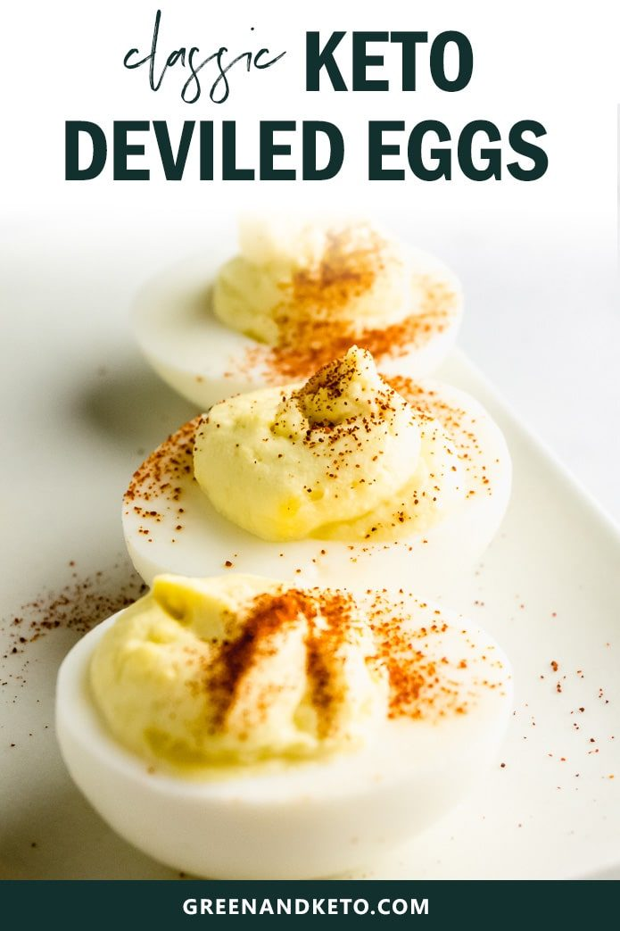 Classic deviled eggs are an ideal keto snack recipe.  You'll love this quick and easy recipe for family-favorite appetizer keto deviled eggs.  Plus, I'll give you all my tips to make the perfect, easy-to-peel, hard-boiled eggs.