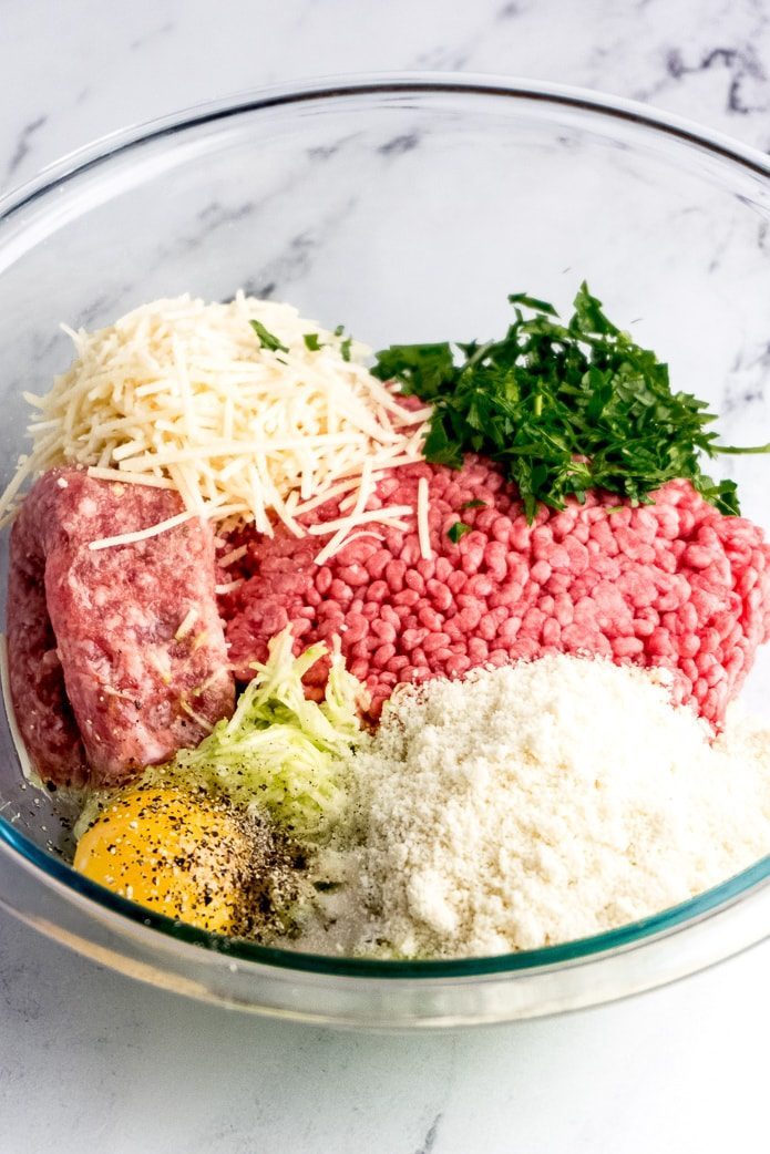 ingredients for keto meatballs made with almond flour and no breadcrumbs