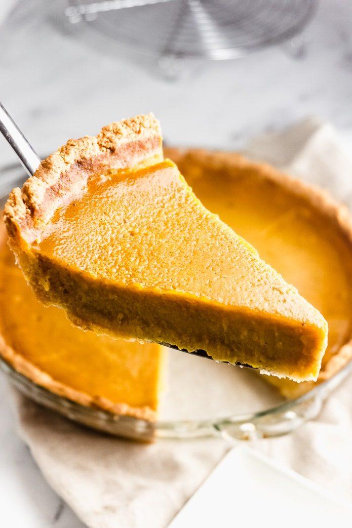 piece of low carb pumpkin pie