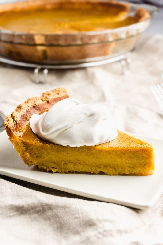 keto pumpkin pie with whipped cream