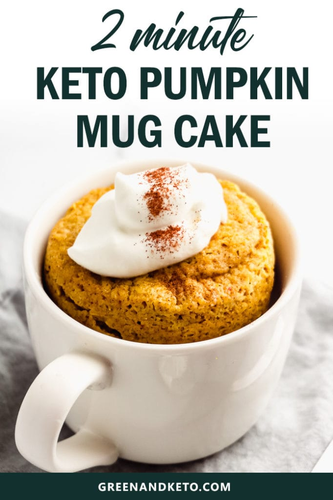 keto pumpkin mug cake with whipped cream