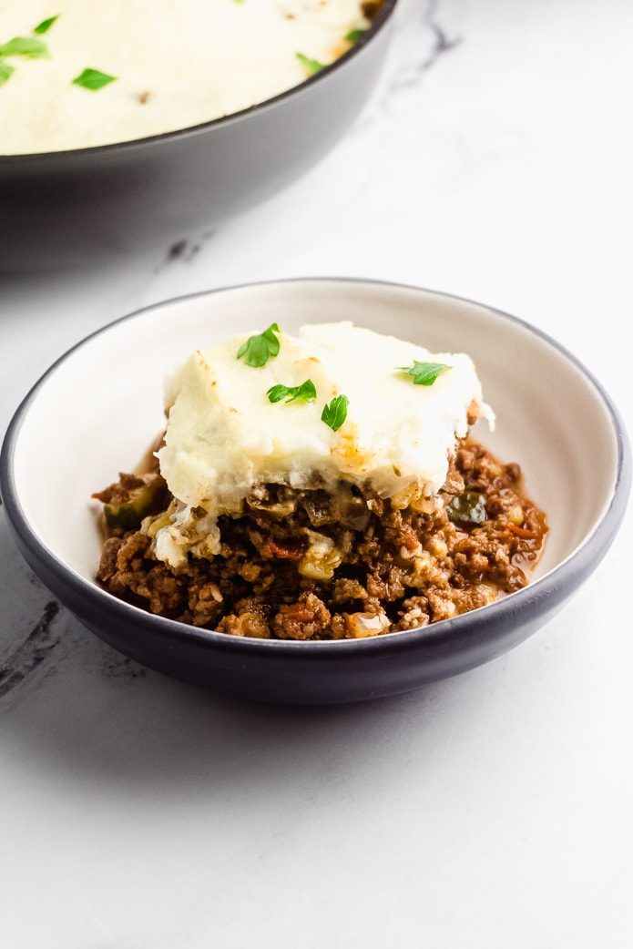 a bowl of keto shepherd's pie with cauliflower mash