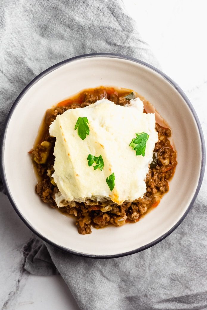 keto shepherd's pie with mashed cauliflower