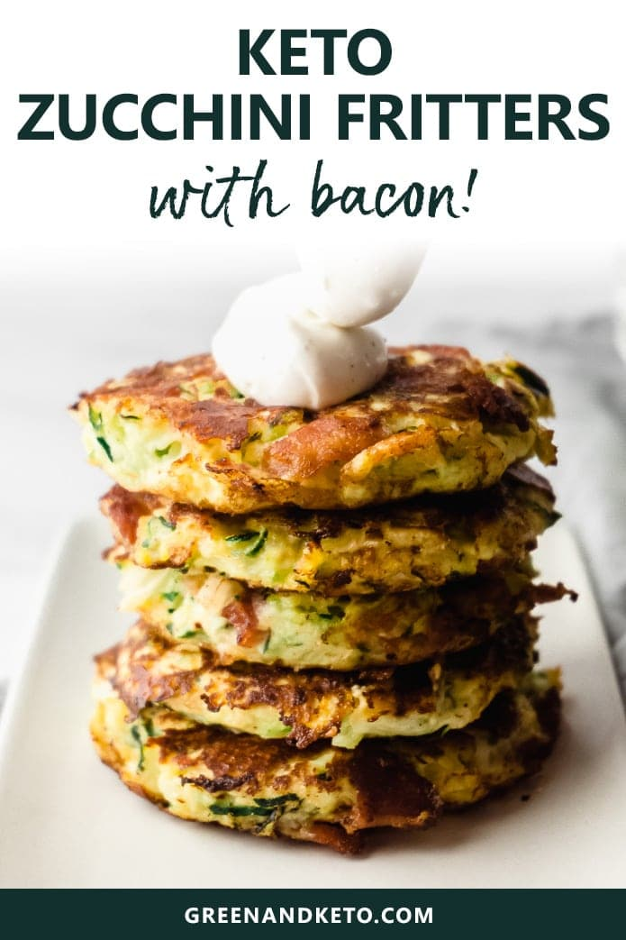 Savory keto zucchini fritters are easy to make and packed with veggies and bacon. They're a delicious low-carb side dish or keto appetizer with sour cream or homemade ranch dressing.