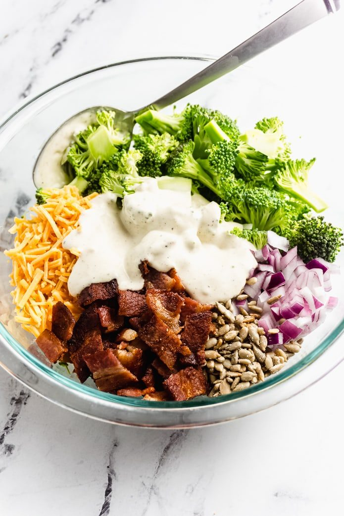 keto broccoli salad ingredients with creamy dressing